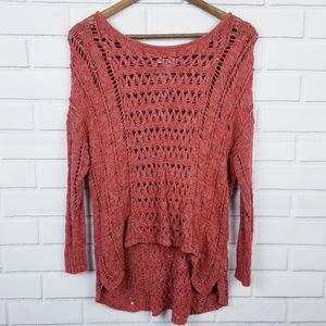 American Eagle Burnt Red/Orange High-low Sweater
